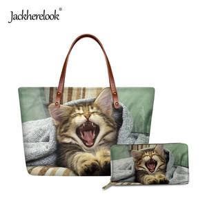 Jackherelook Funny Cat Pattern Handbag for Women Cute Shoulder Bag for Lady Female Casual Tote Bag Durable Handle Bag Wallet