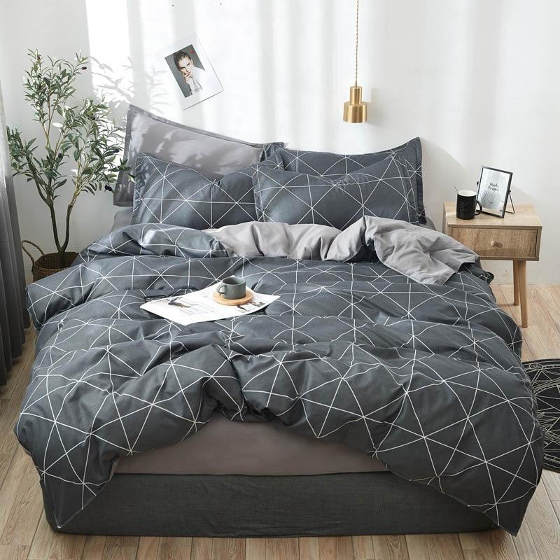 Juego de cama de cuadros geométricos OLOEY, funda de edredón, Sábana de flores, cama king size, juego de cama gris, bonita funda de edredón