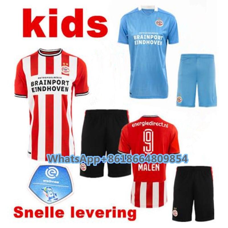 20 21 psv eindhoven crianças kit camisa de futebol 2020 2021 casa fora camisa malen ihattaren dumfries gampo bruma lamers