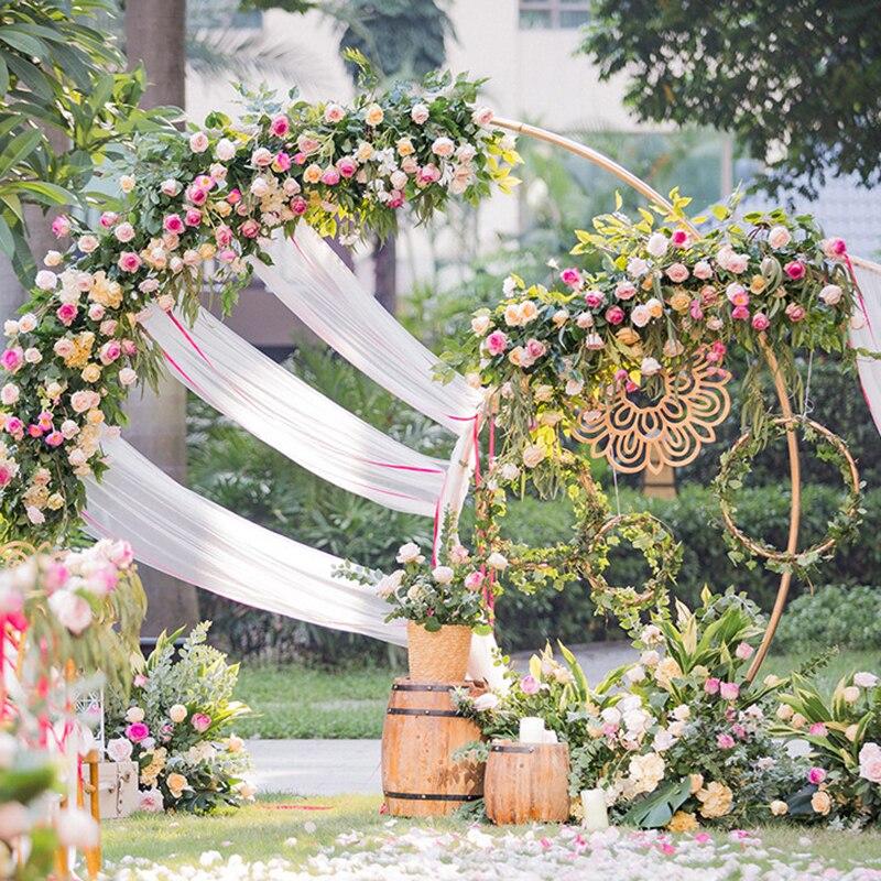 زخرفة قوس الزفاف المعدنية ، رف الحديد المطاوع الزخرفية ، دعم خلفية دائري للحفلات ، إطار دعم الزهور