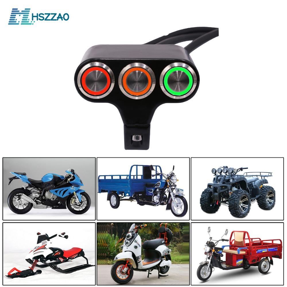 LED 15A de aleación de aluminio-restablecer interruptor de botón de cuerno/flameout/Inicio/interruptor de encendido para motocicleta coche eléctrico ATV