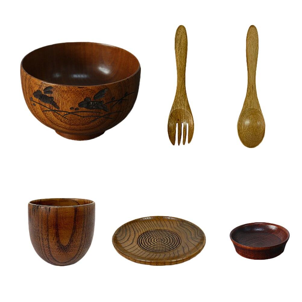 6 قطعة النمط الياباني وعاء الأرز الخشبي ملعقة شوكة طبق كأس مجموعة أدوات المائدة