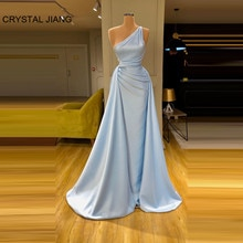 Robe De Soiree 2020 Sexy One Shoulder Evening Dress Satin Pleated Custom made Blue Satin Evening Lon