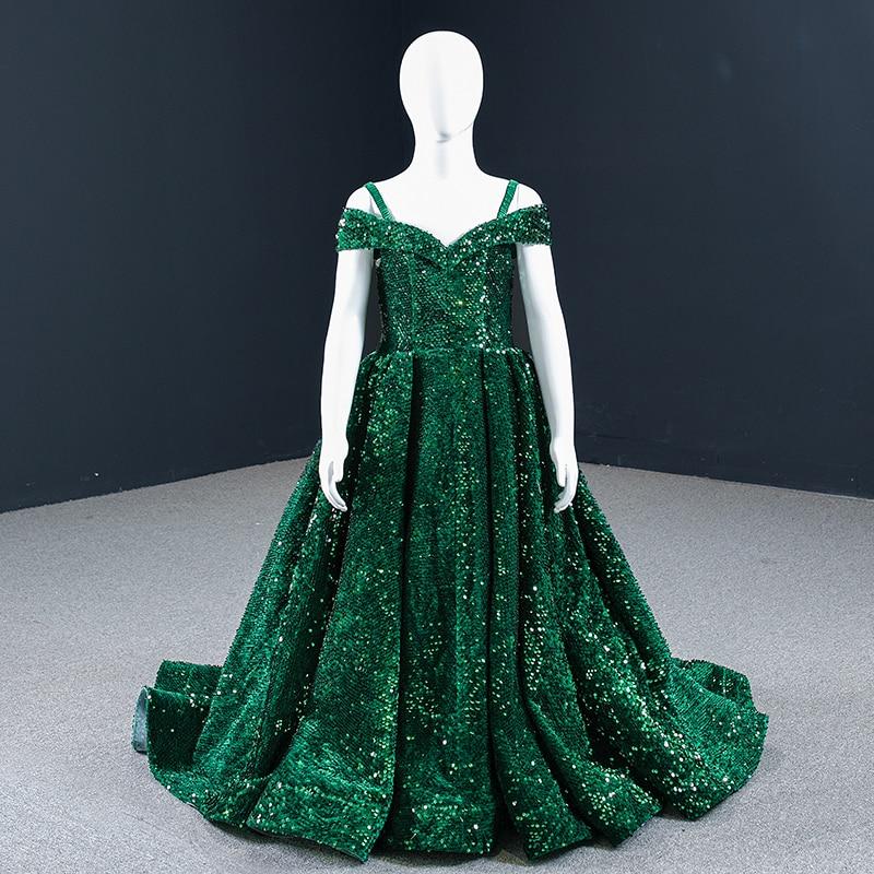 J66742K فستان فتاة الزهور باللون الأخضر بأكمام قصيرة سباغيتي رقبة على شكل قلب وأربطة على الظهر جديد Sukienka Balowa Dla Dziew