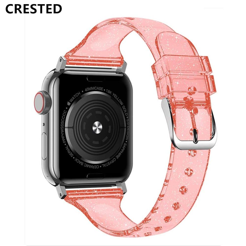 Correa fina con purpurina para Apple watch band 40mm 44mm para iWatch 38mm 42mm pulsera de silicona para Apple watch serie 5 4 3 40 44mm