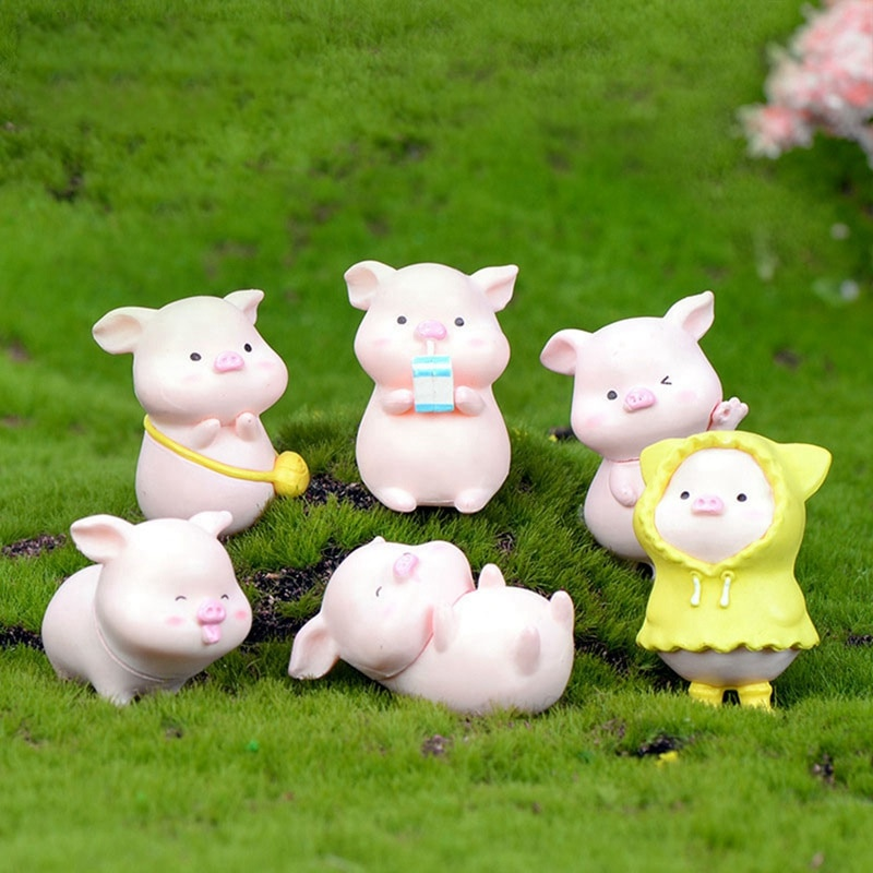 6Pcs/Set Pig Family figurine Animal Model Moss Micro Landscape Home Decor Miniature Fairy garden Decoration Baby Room Decoration