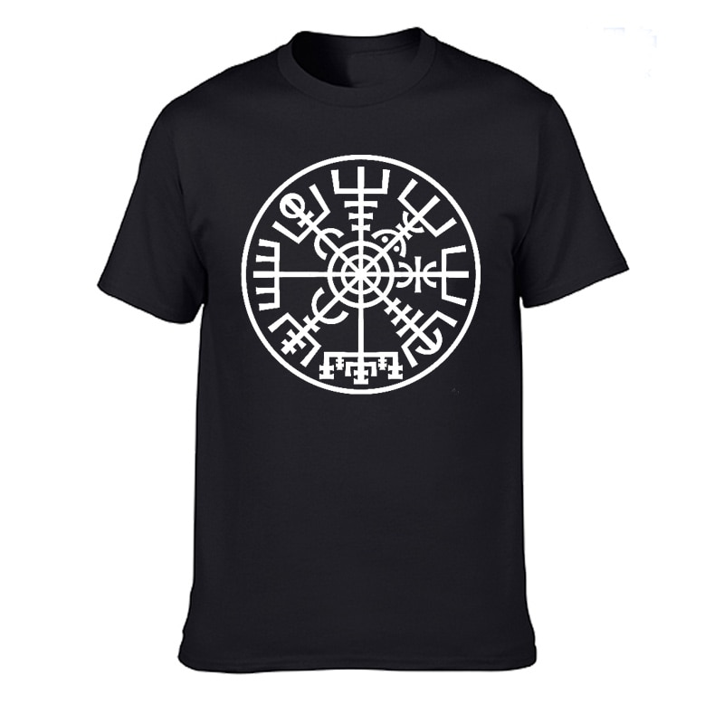 100% de verano de algodón camiseta Viking islandesa vegviser brújula amuleto de runas camiseta Casual de manga corta Camisetas cuello redondo