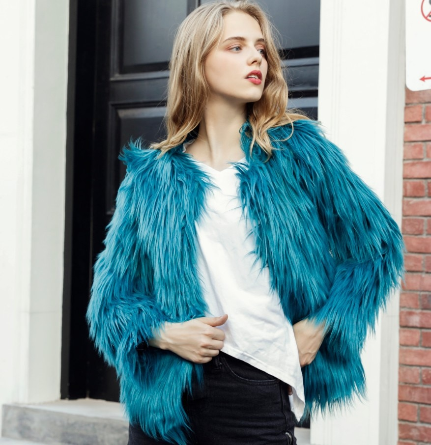 Aqua O Neck Faux Fur Coat Short Slim Fashion Coloful Winter Warm Pink Jacket for Women High Street Casual Party Overcoat WH499