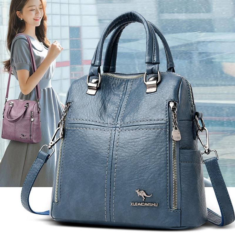 2021 Hot High Quality Leather Backpack Women Shoulder Bags Multifunction Travel Backpack School Bags for Girls Bagpack Mochila