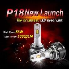 Phare P18 LED h7 led h4 led ampoule accessoire de voiture Hi-lo faisceau lampe 6000k auto hb4 antibrouillard ventilateur style canbus H11 9005 hb3