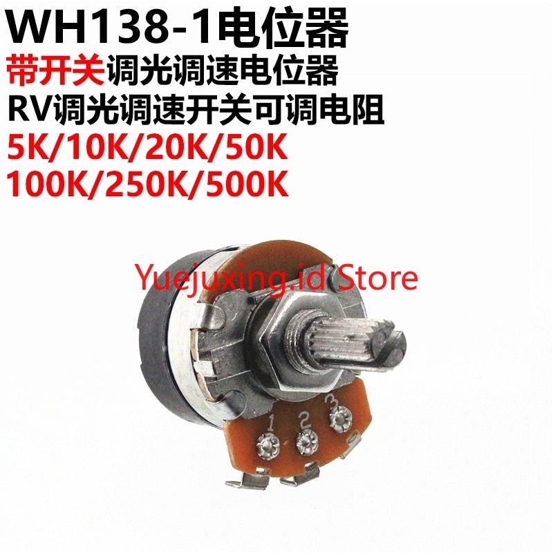 5 PCS WH138-1 B 5 K/10 K/20 K/50 K/100 K/250 K/ 500K mit Schalter Dimmen Geschwindigkeit Regierungs Potentiometer