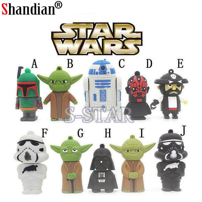 SHANDIAN 100% la capacidad real de envío gratis Star Wars creativo R2D2 Robot model16GB 32GB 64GB 2,0 GB USB Flash memoria de disco Stick
