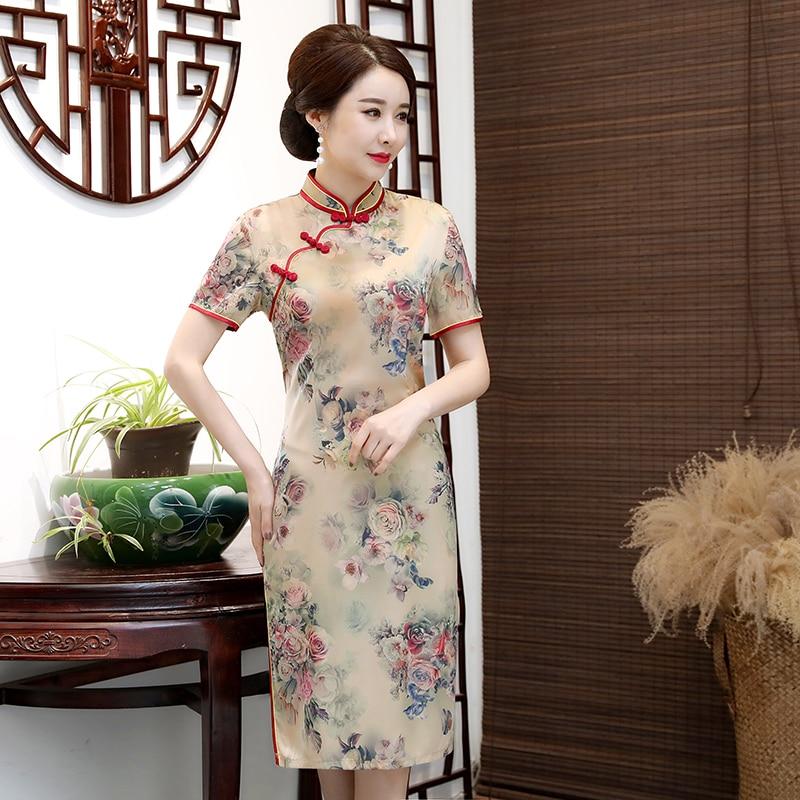 Woman Summer Qipao Dress Oriental Peony Flower Ethnic One Piece Robe Chinese Vintage Mandarin Collar Short Sleeve Slim Fit Dress