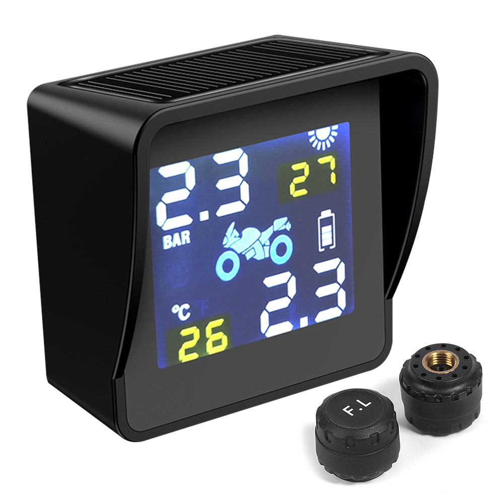 Motorcycle TPMS Tyre Pressure Monitoring System USB Solar Power Digital Auto Security Alarm Systems Motor Tire Pressure Warning