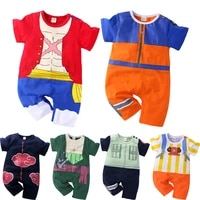 0 2 years baby boy and girl romper newborn summer short sleeved jumpsuit baby anime cartoon cotton cosplay costume