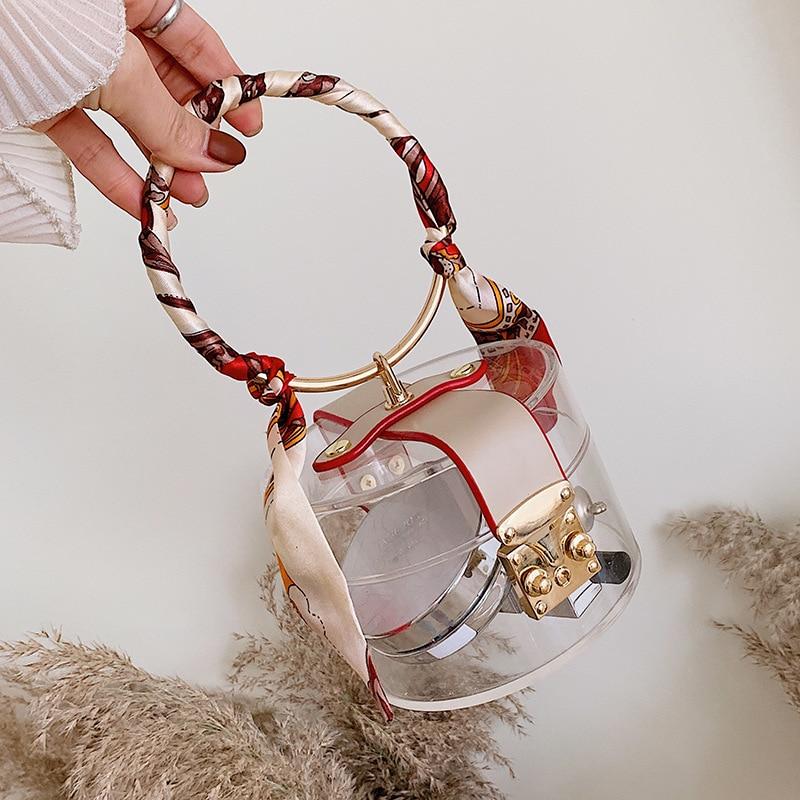 Women's Bag 2020 Transparent Clear Bag Acrylic Scarf Round Top-handle Female bag Clear Handbags Purses Ladies Hand bags Fashion