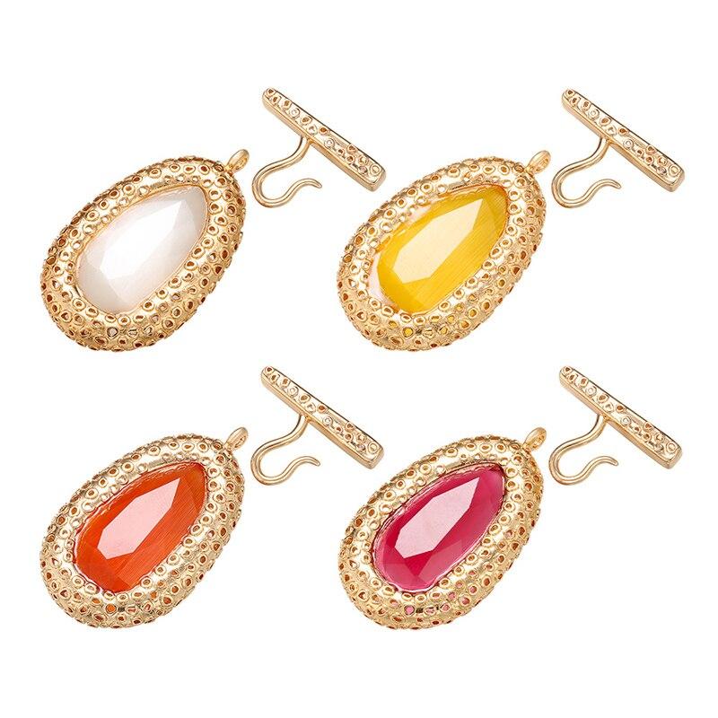 ZHUKOU 30x50mm estilo italiano latón cristal clip hebilla ganchos para mujer DIY hecho a mano collar accesorios de joyería modelo VK82