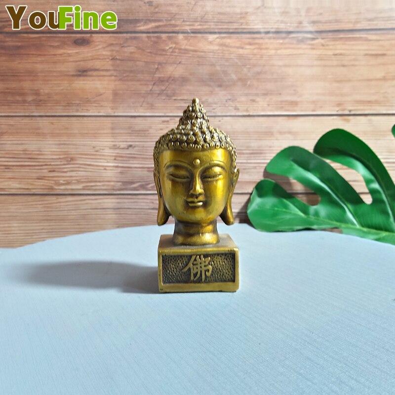 Adornos de Cabeza de Buda de cobre puro como Buda Sakyamuni cabeza de la ciudad Casa Zen pequeña trompeta entrada estilo chino decorati