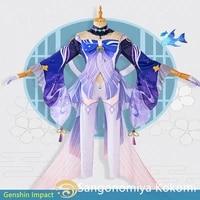 game genshin impact sangonomiya kokomi cosplay costumes set woman clothing halloween prop