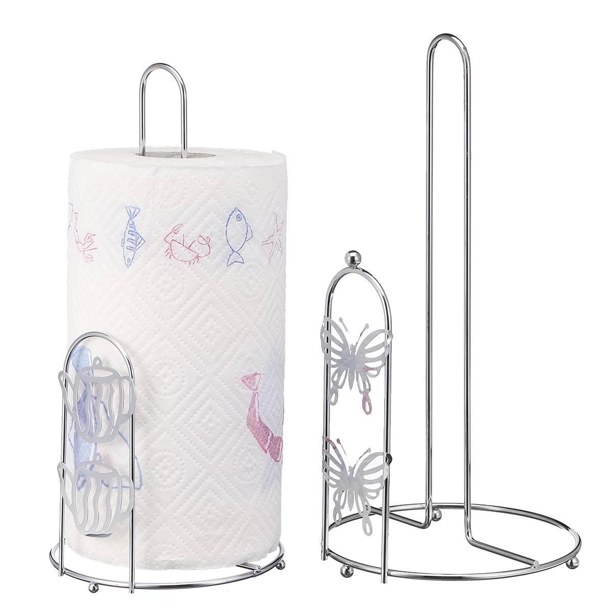 Stainless Iron Kitchen Table Roll Paper Towel Holder Stand Rack Organizer Storage Shelf Kitchen Bathroom Hardware Paper Holders