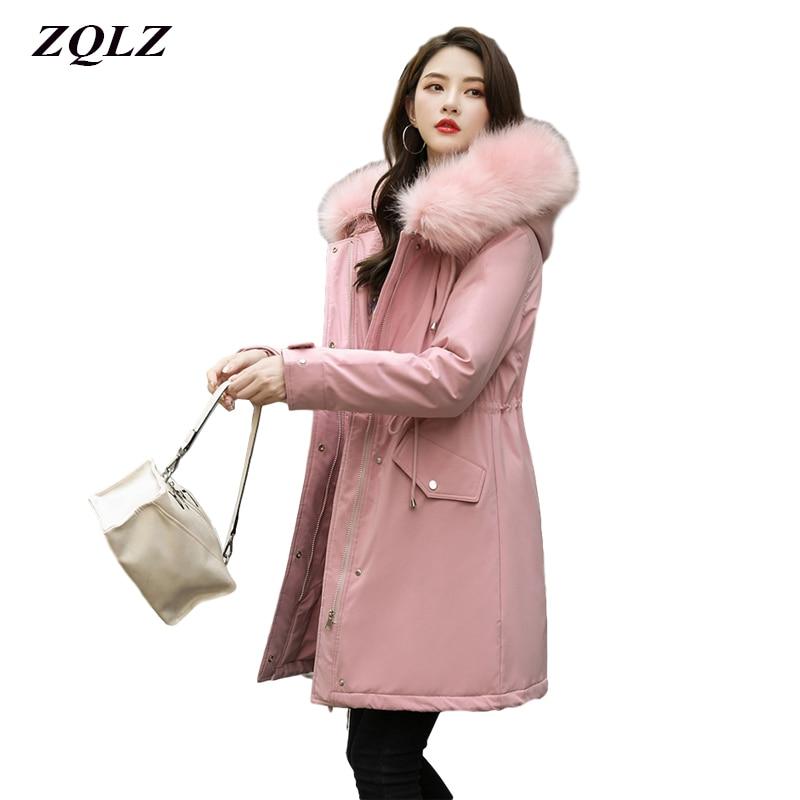 ZQLZ Winter Jacket Women 2020 new -30 Degree Women's Long Parkas Coats Hooded Fur Collar Thick Warm Snow Coat Jacket