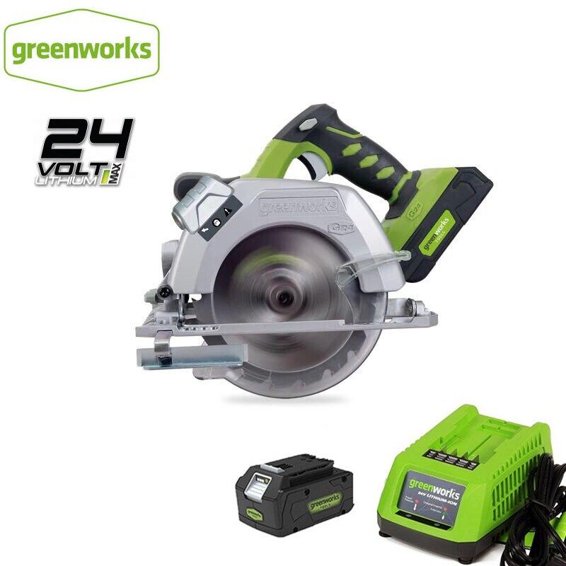 Greenwork 6-1/2 pulgadas G24CS 24V batería Circular Sierra compacta con 165mm 18T hoja TCT sierra Circular carpintería herramientas madera