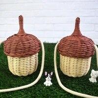 mini handwoven rattan basket storage bucket bag knitted handbag crossbody rattan bag for kids girl women beach photo props