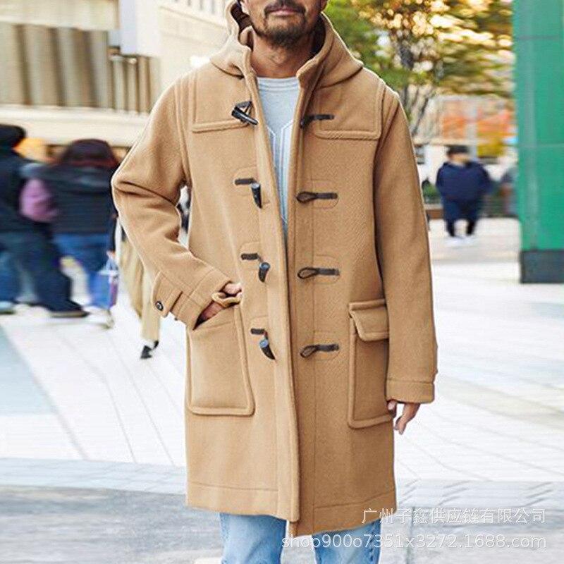 الصوف سترة واقية معطف الرجال الصلبة الرأس زر مقنعين تويد معطف الرجال صالح سليم مصدات الرياح طويل أبلى الرجال الشتاء معاطف