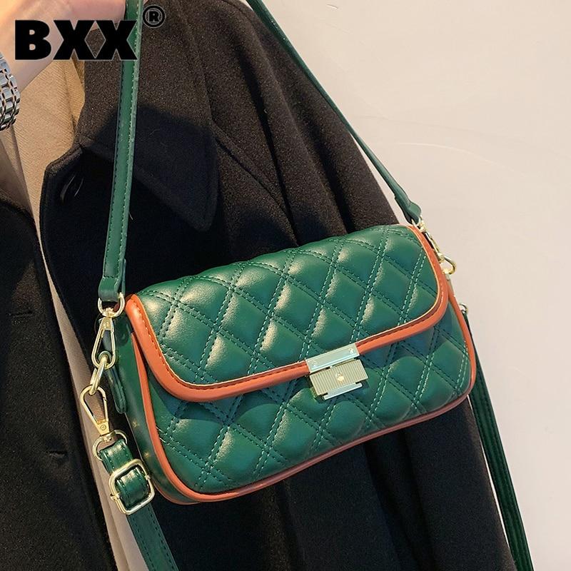 [BXX] Woman New Causal Green Small Quality PU Leather Personality All-match Mini Crossbody Shoulder Bag Fashion Tide 2021 GF0801