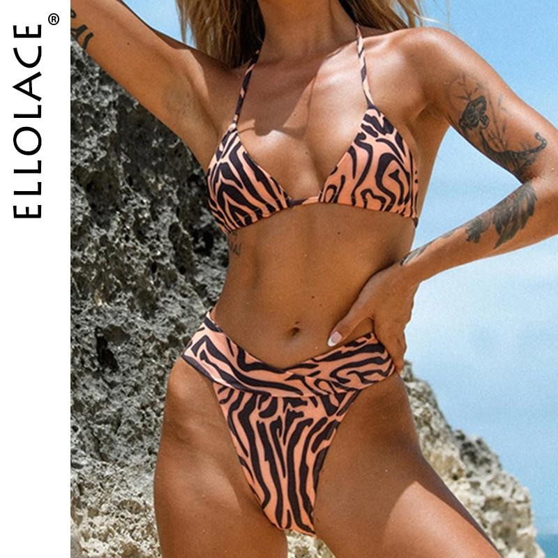 Ellolace Animal Print Womens Swimsuit Swimwear Sexy Micro Bikini 2021 Halter Separate Women Clothing