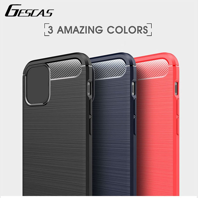 GESCAS Brushed Texture Case For IOS Phone 12 Mini Pro Max Protective Sleeve Carbon Fiber Feel Shock Protection Phone Case
