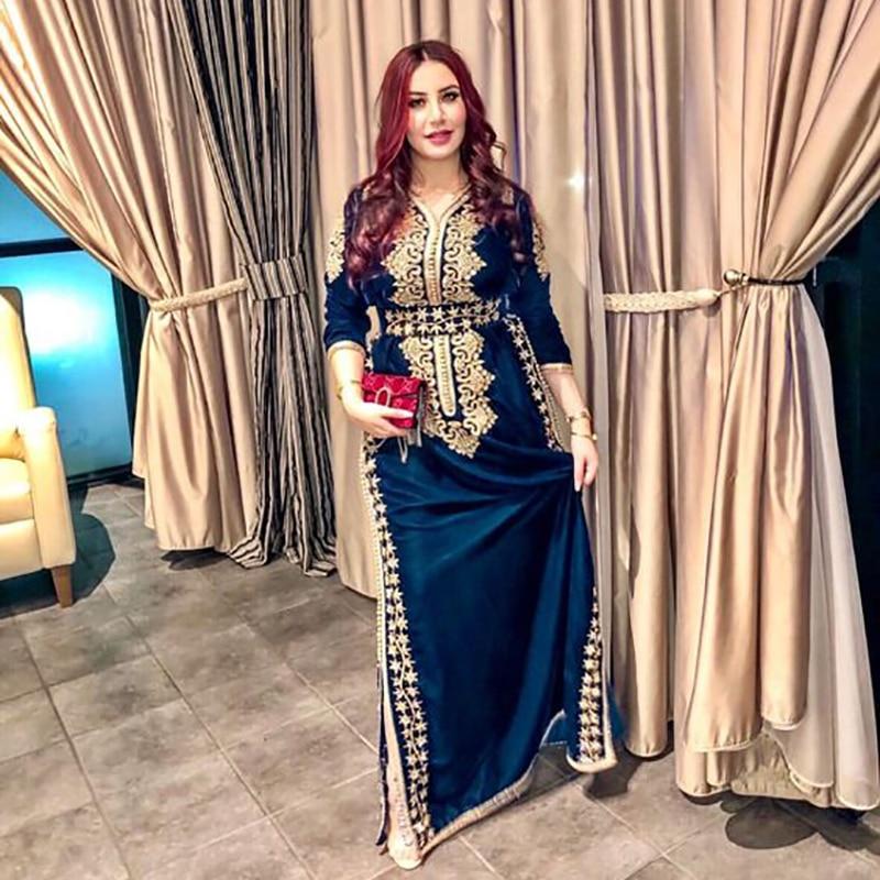 Smileven Marokko Kaftan Abendkleider Side Split Meerjungfrau Prom Kleid Samt Langarm Formale Abend Party Kleid