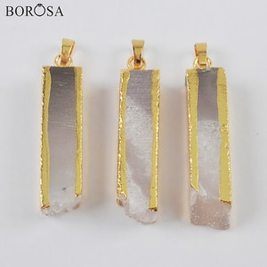BOROSA Gold Plated Cuboid Natural Agates Druzy Pendant for Necklace Raw Gems Stone Pendant Beasds Long Gold Necklace G1999