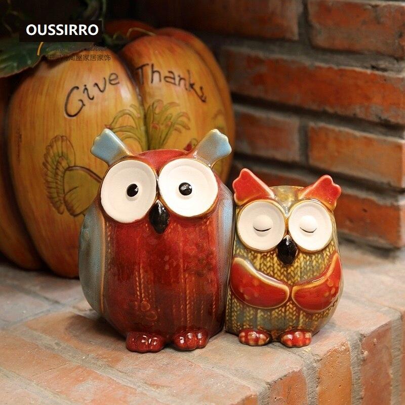 OUSSIRRO 2 개/대 Painted Owls 도자기 홈 가구 장식 룸 거실 TV 스탠드 캐비닛 디스플레이 소품