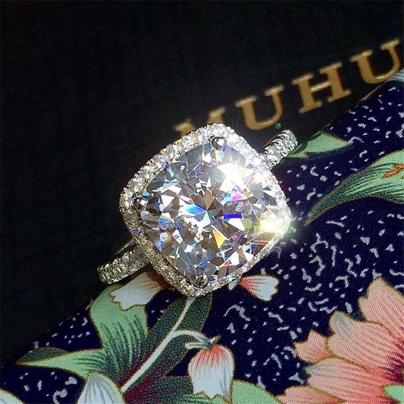 Anillo de diamante de laboratorio de 3ct de lujo para mujer, anillo de compromiso de Plata de Ley 925, anillo de boda para mujer, joyería de fiesta nupcial
