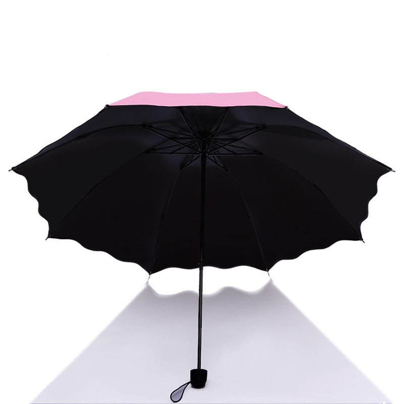 Meet Water Will Bloom Gift UV Colorful 3 Folding Light Weight Umbrella for Girl enlarge