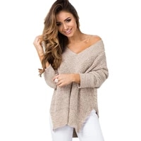 womens sweater 2020 spring fashion v neck long sleeve cloth loose knitted pullover sexy jumper tops hot