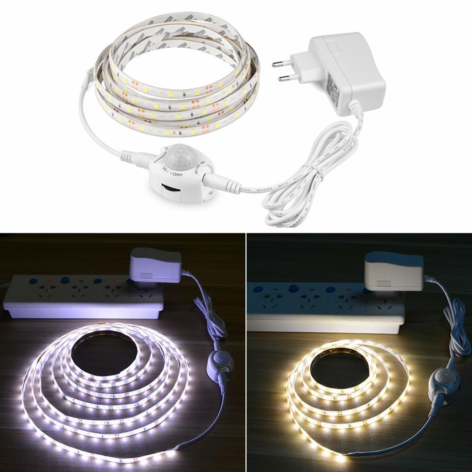 Tira de luces LED PIR Sensor de movimiento del cuerpo humano cinta de lámpara LED impermeable Flexible 2 modos de luz para armario de cocina al aire libre