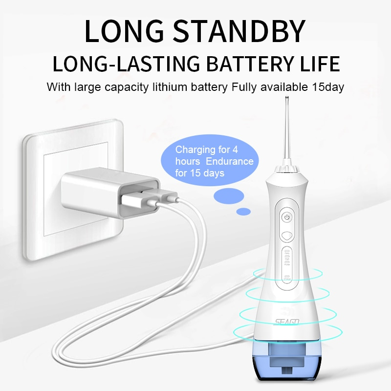 Seago Water Flosser USB Oplaadbare Monddouche Dental Draagbare 3 Modes 200Ml Tank Waterstraal Waterdicht IPX7 Thuis