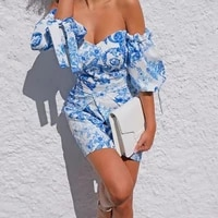 novae short skirt off shoulder bubble sleeve wrapped around chest and buttocks dress party