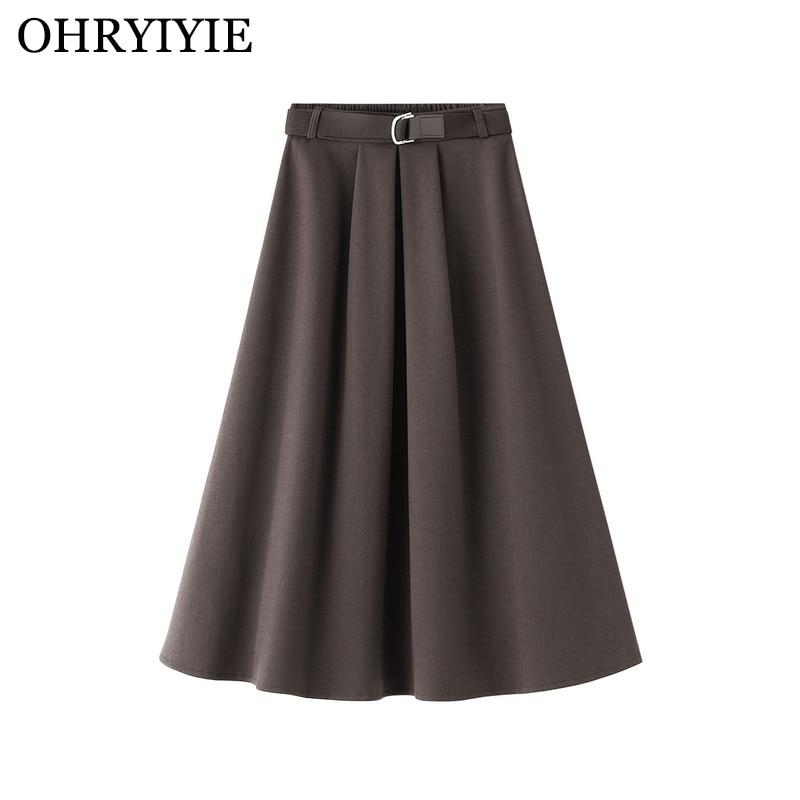 OHRYIYIE جودة عالية الصوفية تنورة عالية الخصر النساء 2021 الخريف الشتاء خمر مطوي تنورة الإناث الكاكي البني طويل ميدي التنانير