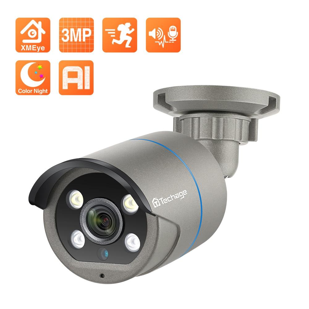 Techage 3MP POE كاميرا IP الذكية AI كاميرا الأمن في الهواء الطلق مقاوم للماء CCTV مراقبة فيديو اتجاهين الصوت اللون للرؤية الليلية