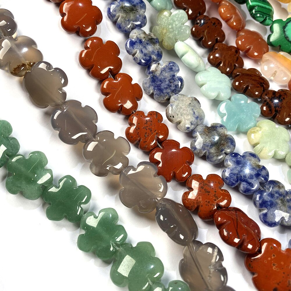 Natural Stone Quartz Crystal Agates Turquoises Beads Flower Shape Scattered Beads For Women Jewelry Making DIY Bracelet Necklace  - buy with discount