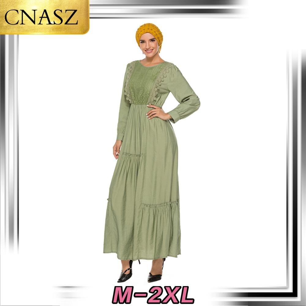 2019 mais novo muçulmano mulheres dubai kaftan rendas costura recebendo cintura vestido de manga longa oriente médio eid ramadan vestidos islâmicos