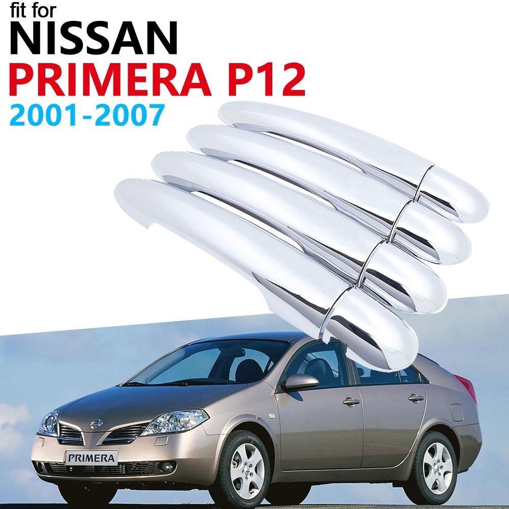 Manija de puerta accesorios de coche para Nissan Primera P12 2001 2007 2006 manija Exterior de cromo lujoso juego de pegatinas 2005