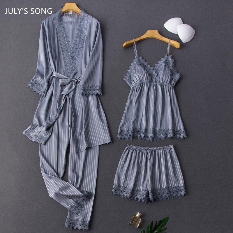 JULY'S SONG-طقم بيجامة من الساتان والحرير الصناعي ، 4 قطع ، مخطط ، مثير ، دانتيل ، أنيق ، ملابس نوم نسائية ، ربيع ، خريف ، صيف