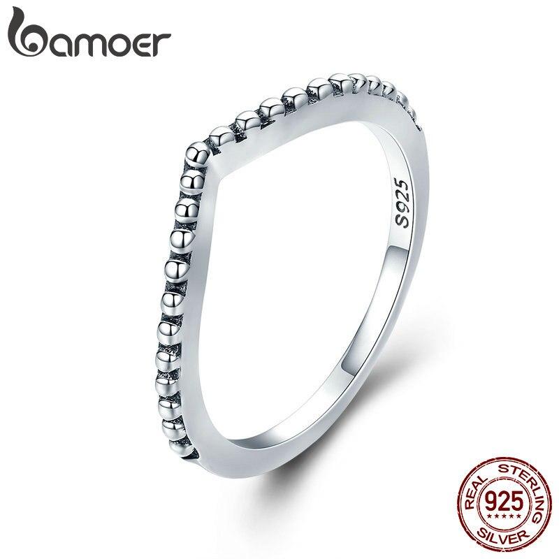 BAMOER 100% Аутентичные 925 пробы серебра в форме капель воды, женские кольца на палец для Для женщин Обручение ювелирные изделия, подарок девушке PA7648