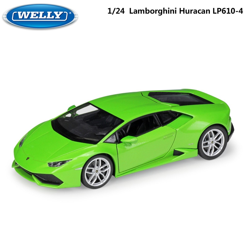 Modelo WELLY coche 124 fundido Lamborghini Huracan LP610-4 coche de carreras deportivo coche de aleación de Metal coche de juguete para niños colección de regalos