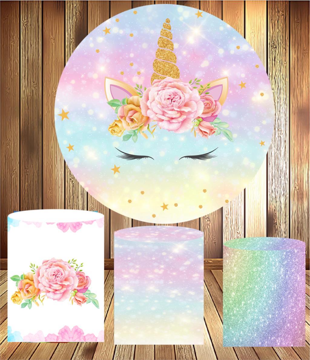 Fondo círculo redondo cumpleaños mini decoración de fiesta de mesa Tema de unicornio baby shower tela elástica 3 cilindros plinths cubierta