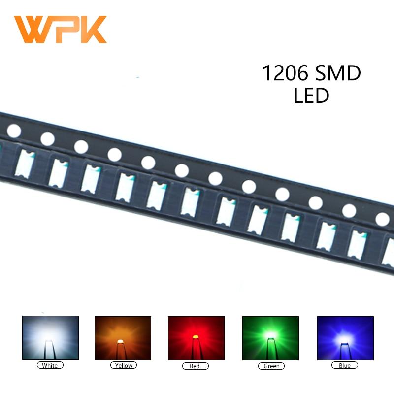 100Pcs 1206 Smd Led Rood Geel Groen Wit Blauw Oranje Uv Light Emitting Diode Pcb Diy Diverse Kit